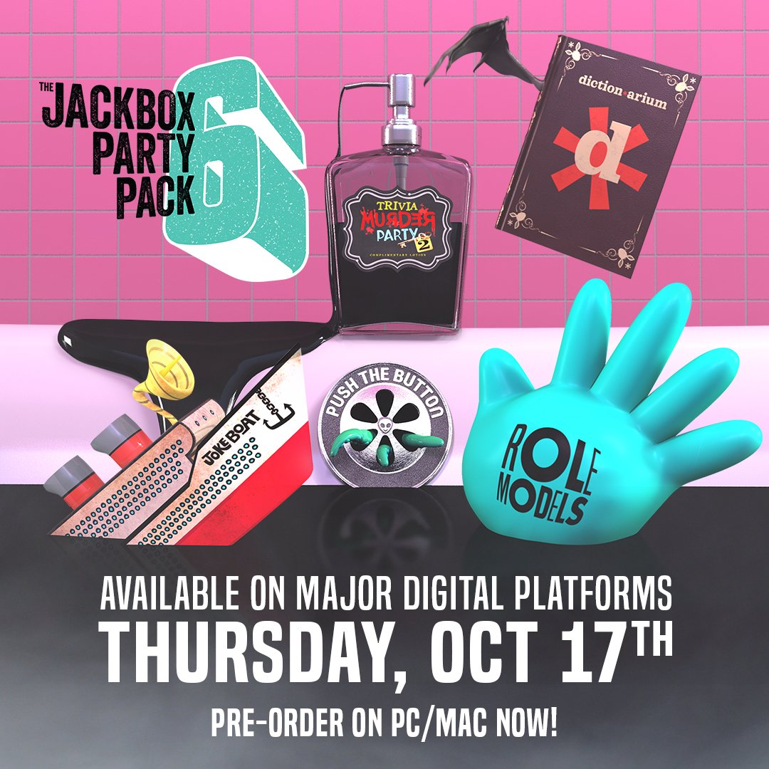 BREAKING NEWS: On Thursday, October 17th, The Jackbox Party Pack 6 will be released on major digital platforms. Pre-order now for PC/Mac/Linux: http://bit.ly/2lnvRzm
