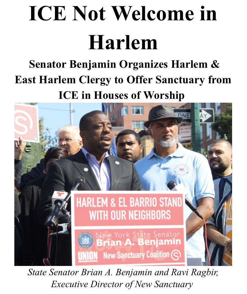 "Harlem & E Harlem Clergy put the Trump Administration on notice today that their communities love our immigrant neighbors.  Houses of Worships announced they are joining the list of ""Sanctuary Congregations"" that are open to immigrants seeking sanctuary from #ICERaids #abolishICE<br>http://pic.twitter.com/GiFdYhZ6yS"