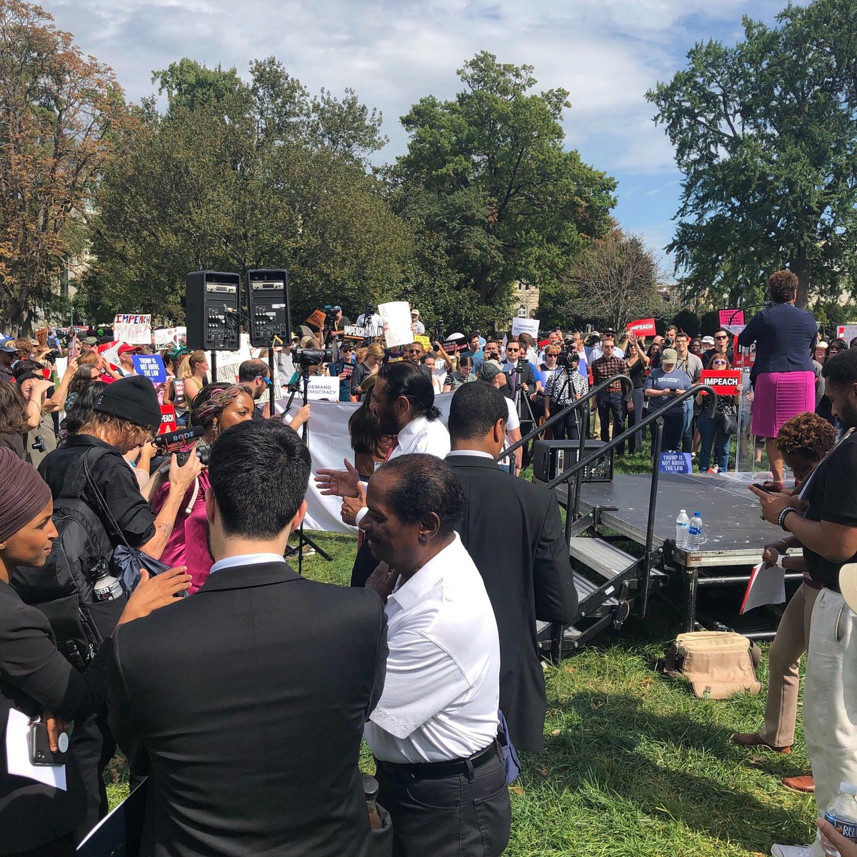 The view from backstage as @RepBarbaraLee addresses the crowd at the Capitol, calling for #ImpeachmentNow