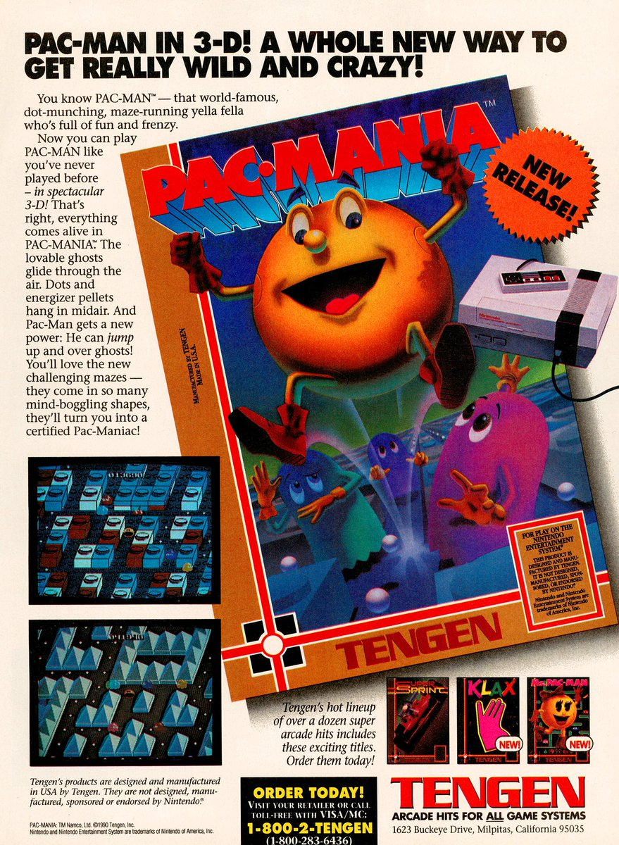 Videogameart Tidbits On Twitter Pac Mania Nes Tengen Ad This Ad Was Printed With What Looks Like An Early Concept Of The Box Art It S Not Unheard Of For That To Happen But