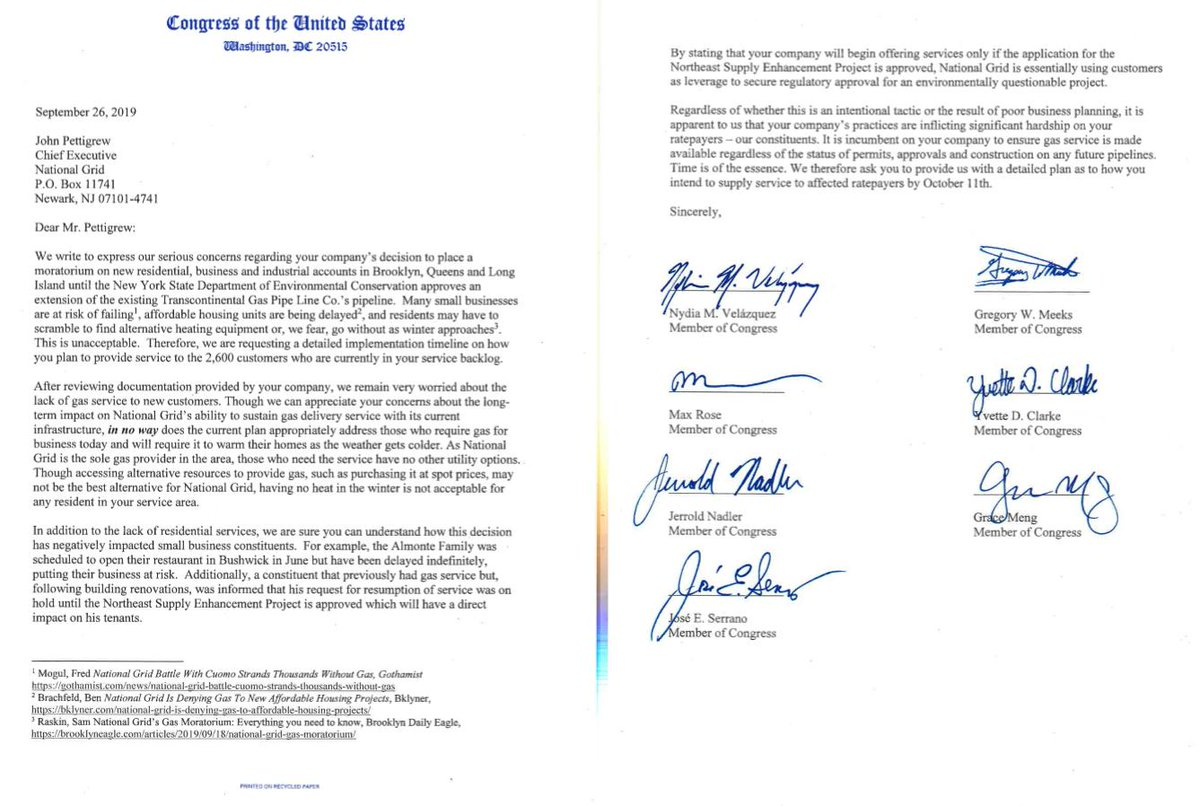 Today, I led Members of the New York delegation in writing to National Grid. @RepGregoryMeeks @RepMaxRose @RepYvetteClarke @RepGraceMeng @RepJerryNadler @RepJoseSerrano & I demand NG provides a plan as to how it will restore service for 2,600 customers who are being denied gas. https://t.co/G5AtwzGNVT
