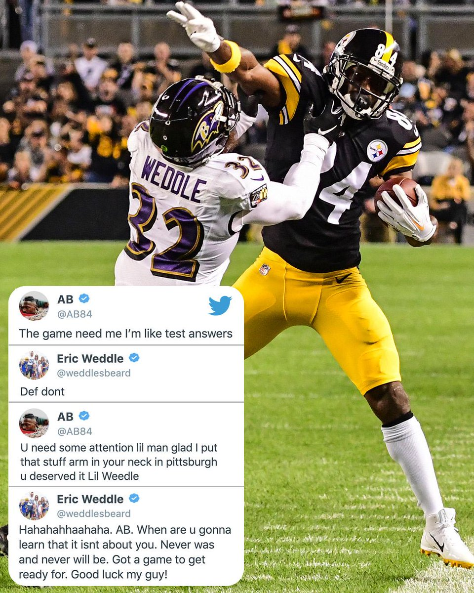 Antonio Brown and Eric Weddle exchanging blows on Twitter 👀