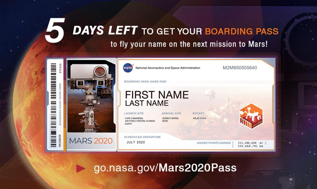Its not too late to send your name to Mars, but dont wait! Boarding ends Sept. 30 at 11:59pm ET. 🤖 Our #Mars2020 Rover is gearing up for its seven-month journey to the Red Planet and you can send your name along for the ride. Get your boarding pass: go.nasa.gov/Mars2020pass