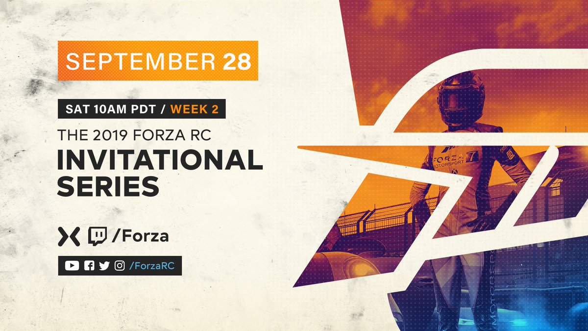 Saturday morning. 10 AM PDT. A whole new stable of teams gear up for Week 2 of the #ForzaRC Invitational Series. Tune in on @WatchMixer, @Twitch and Youtube. Mixer.com/Forza Twitch.tv/Forza Youtube.com/Turn10Studios