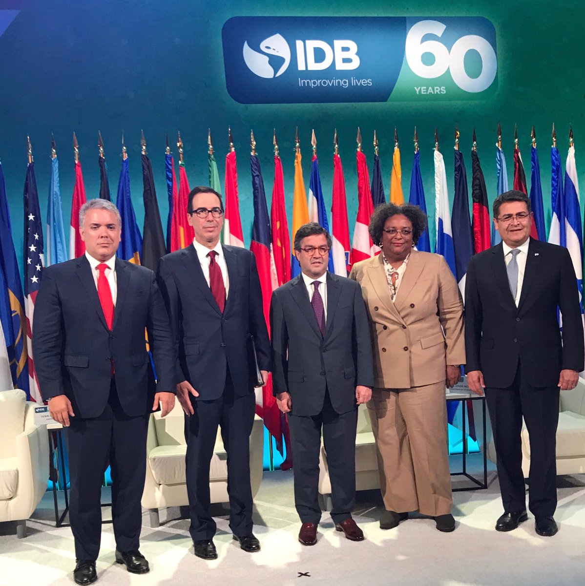 Joined @the_IDB with the President of Columbia @IvanDuque, IDB President @MorenoBID, the Prime Minister of Barbados @MiaAmorMottley, and the President of Honduras @JuanOrlandoH to celebrate 60 years of working together to improve lives in Latin American and the Caribbean.