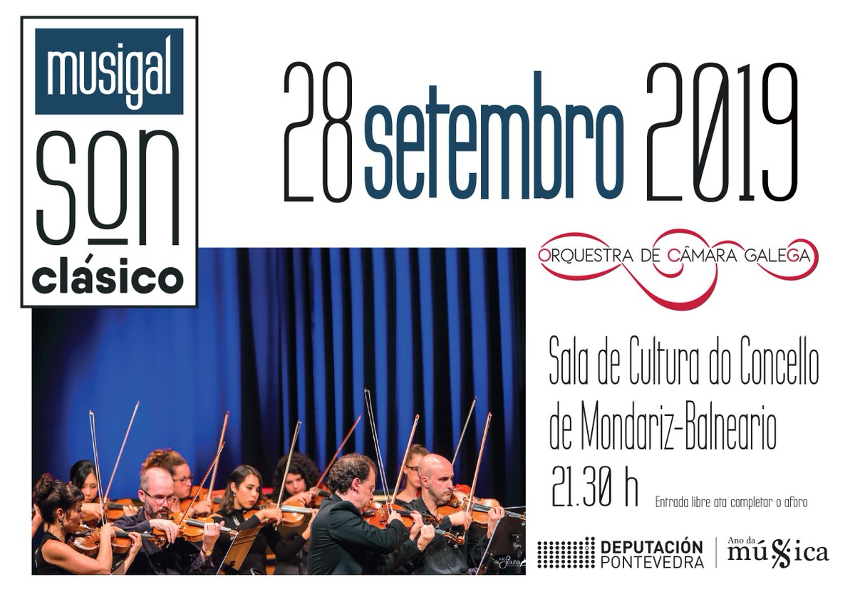 🎶 O #SonClásico do #Musigal soará esta noite en #MondarizBalneario coa Orquestra de Cámara Galega. Achégate á Sala de #Cultura do Concello ás 21:30 horas! 👉  #AnodaMúsica