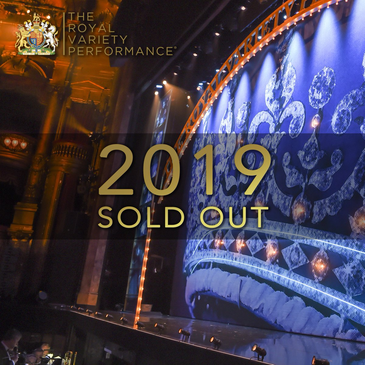 The Royal Variety Performance 2019 is now SOLD OUT! We can't wait to reveal this year's stellar line-up... Look out for announcements coming soon. #RoyalVarietyPerformance #Variety4Charity #2019 #RoyalVariety #RVP