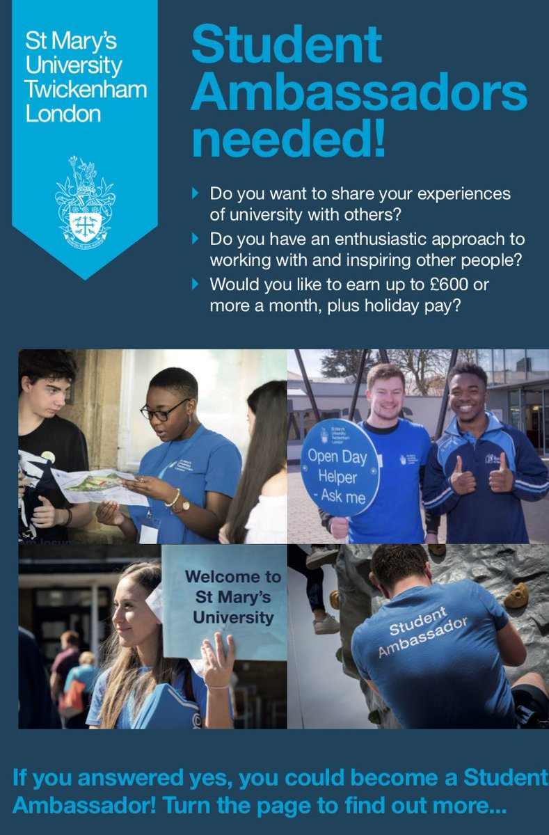 Your University needs you!👇 If you are looking for flexible work during your studies, @YourStMarys' Student Ambassador scheme is an opportunity to make £10.55 an hour, improve your CV & help students considering university level study! Application deadline: 13/10/2019