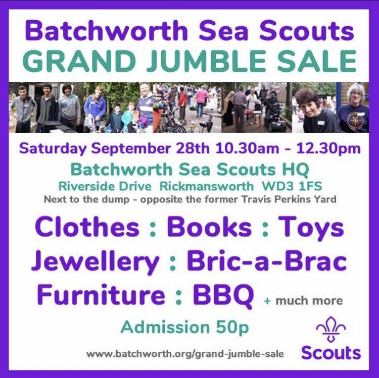 📢 Tomorrow's the big day. #GrandJumbleSale at Batchworth HQ, Riverside Drive, Rickmansworth. 10.30am - 12.30pm. #Rickmansworth #WD3 #Batchworth #SeaScouts #Community #JumbleSale RT