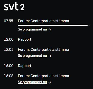 @mathildalae Hej Mathilda! Vi sänder Centerpartiets partistämma i SVT2 och på SVT Play, svtplay.se/video/23674858… Trevlig helg! /Philip