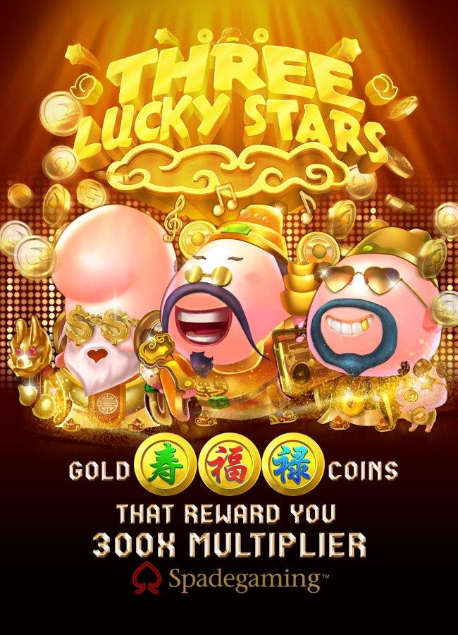 Permainan Slot Three Lucky Stars dari Spadegaming
