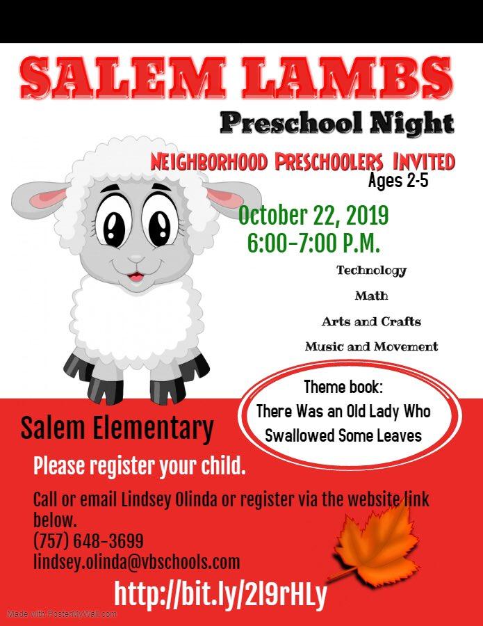 Parents of neighborhood preschoolers!! We are hosting a Salem Lambs Preschool Night in October. Register now!