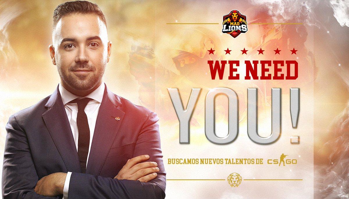 👤 OFICIAL | ¿Quieres ser jugador profesional de #CSGO? En MAD Lions te estamos buscando. Iniciamos un periodo de pruebas para encontrar talento nacional. 🔍 Los únicos requisitos son residir en España y ser nivel 10 en FACEIT. Rellena el formulario: 👉 forms.gle/Yimgb6oxprJhv3…