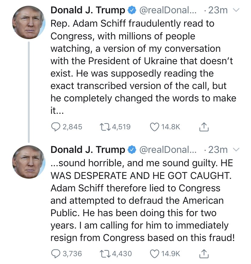 You engaged in a shakedown to get election dirt from a foreign country. And then you tried to cover it up. But you're right about one thing — your words need no mockery. Your own words and deeds mock themselves. But most importantly here, they endanger our country.