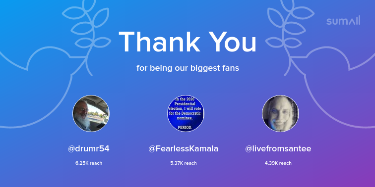 Our biggest fans this week: drumr54, FearlessKamala, livefromsantee. Thank you! via sumall.com/thankyou?utm_s…