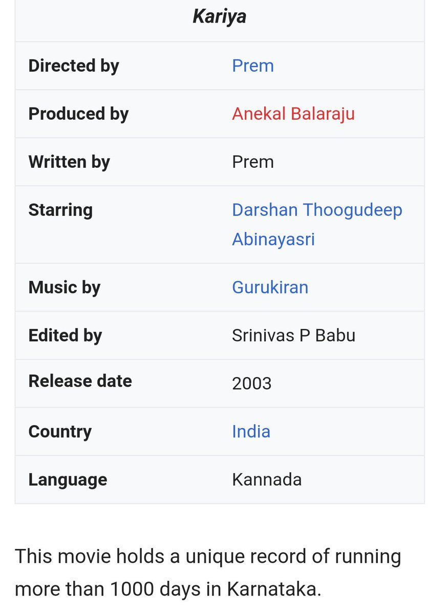 Longest running film in #kfi ever ..@dasadarshan rules..2 decades ..only kannada actor after #drraj ,#vishnu  n #shivarajkumar  to give more blockbuster films ..@AICSDF @CSDSK1 @darshan_news_ @DarshanTrends @DBossFc171 @Dcompany171