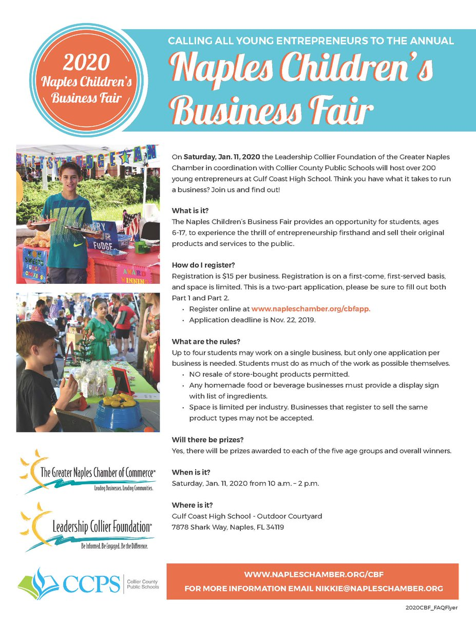 Collier County Fair 2020.Calling All Young Entrepreneurs To The Naples Children S