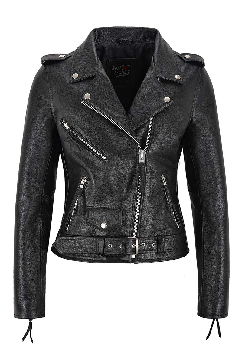 NEW LADIES GENUINE COWHIDE LEATHER BRANDO PERFECTO BIKER STYLE LEATHER JACKET