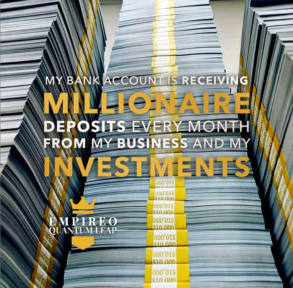 "My bank account is receiving MILLIONAIRE deposits every month from my BUSINESS and my INVESTMENTS. ⚙️⏱️⚖️💰  ""QUANTUM LEAP TO MILLIONAIRE""💰💎 ▶️ I want to know more about the program https://t.co/zfXarp0sbB https://t.co/2y8zZZ2PVB"