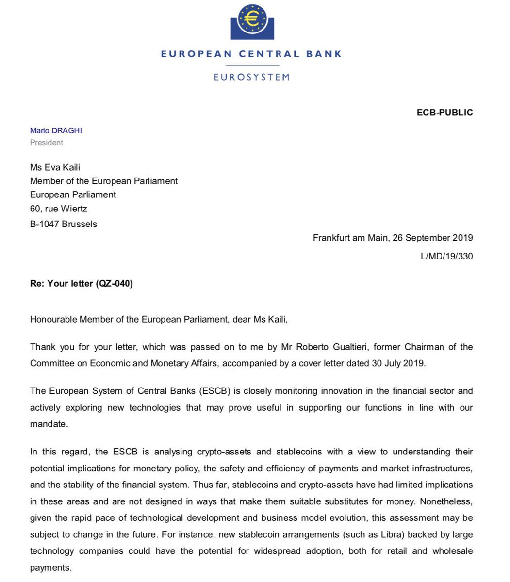 Critical improvements of @ECB approach regarding #cryptocurrencies & #stablecoins #Libra President of ECB #MarioDraghi replied to MEP Eva Kaili & recognizes future potential as means of payment while keeping an open mind for the utility of a crypto-Euro ecb.europa.eu/pub/pdf/other/…