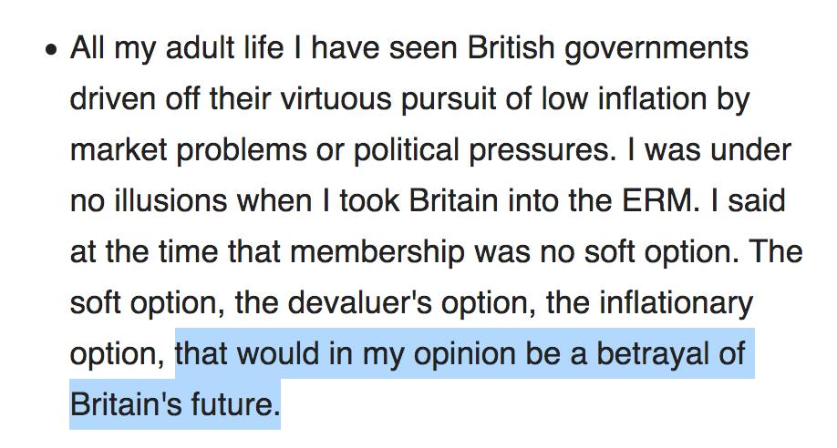 John Major is busy saying that the word betrayal should have no place in our politics... ...which is funny because in 1992 he said leaving the ERM would be a betrayal of Britains future. en.wikiquote.org/wiki/John_Major