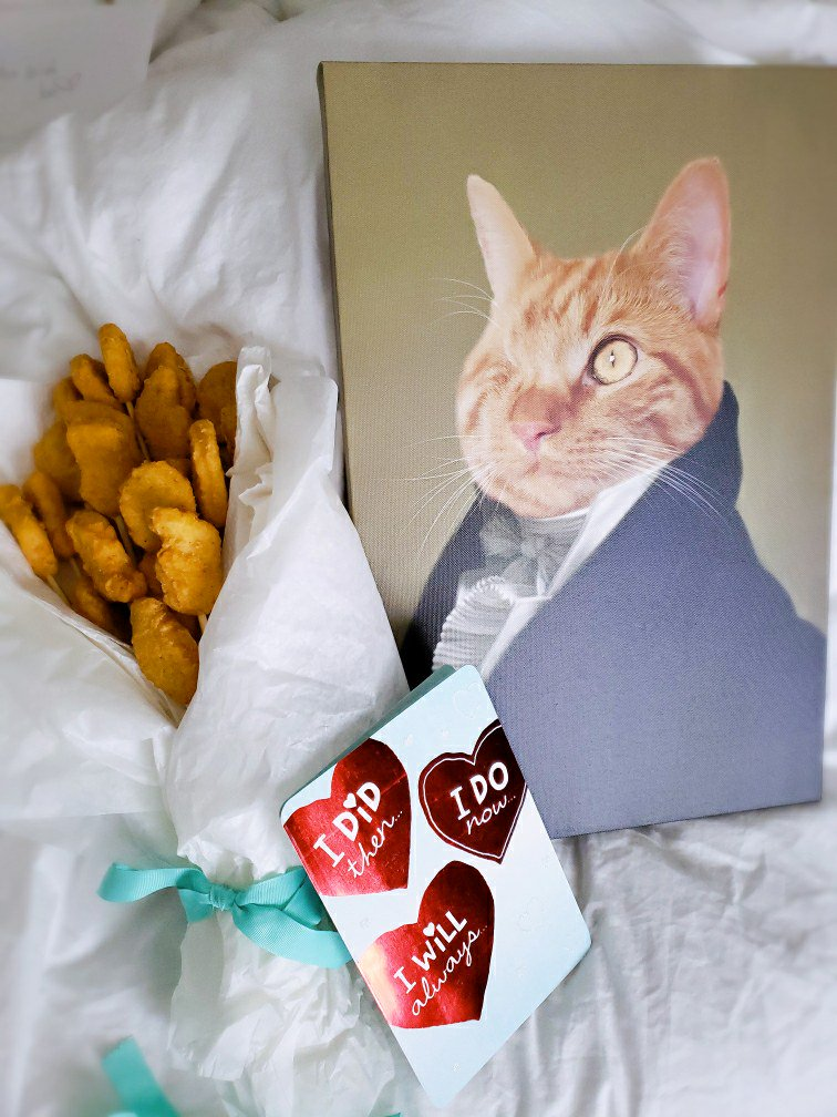 Proton Jon On Twitter Reese Just Surprised Me For Our Anniversary With A Chicken Nugget Bouquet And A Renaissance Portrait Of Bagel I Married The Right Woman I Love You So Much Yes, he has one eye; proton jon on twitter reese just