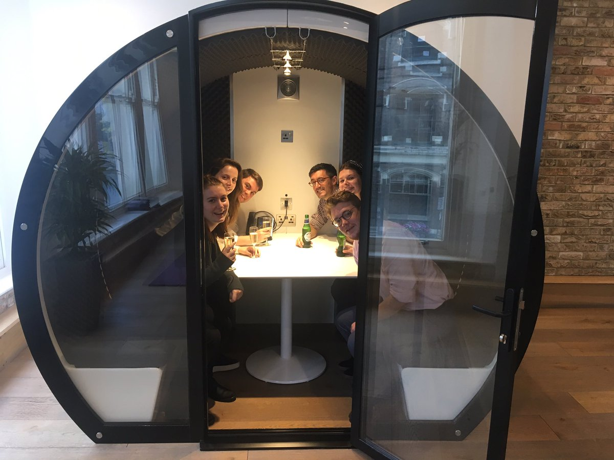 .@TheMeetingPodCo we couldn't think of a better way to christen our new pod than with some prosecco and beer! #TGIF