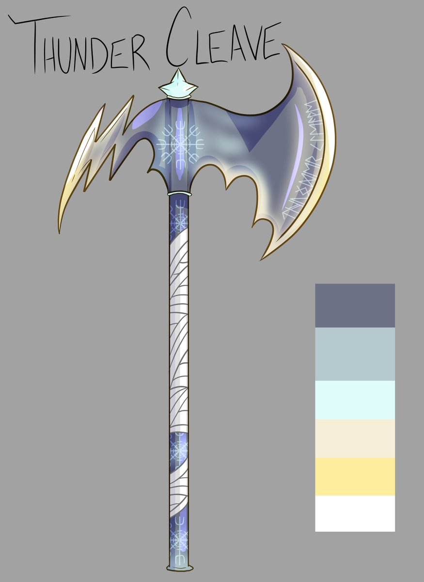 When you officially design your Homebrewed Axe for your Barbarian. To think an angry cat lady who is only 5'2 swings this around to murder everything.  Meet the THUNDER CLEAVE  #dnd #Weapon #Greataxe #homebrew #RPG #TTRPG #Design