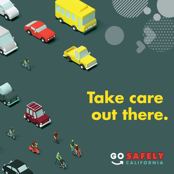 Drivers and pedestrians are both going places. Lets do our part to be mindful of one another and #ShareTheRoad. Pedestrians, make yourself visible and cross at stop signs or signals. Drivers, watch for pedestrians when making turns. #GoSafelyCA #PedestrianSafetyMonth