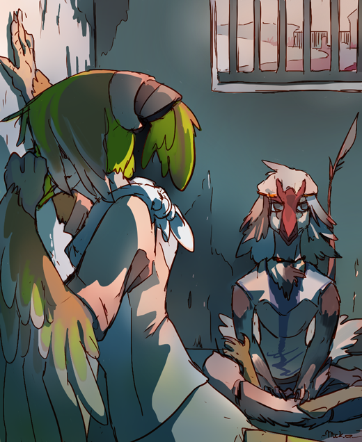 """🎨📖Artwork + Lore Education!  """"Nevreans in jail""""  Wonder what happened to them? For in-depth details on everything, head to links below:  +Fav and read more http://www.furaffinity.net/view/33203098/  +Feedback https://www.patreon.com/posts/30291240  +HD Version artwork https://www.patreon.com/posts/30259045  #Nevrean #Vilous"""