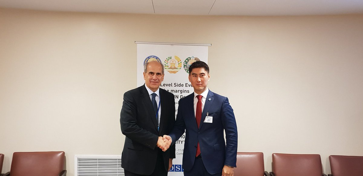 It was a pleasure to co-chair together with Minister Aidarbekov the UNGA side event on environmental remediation in Central Asia and discuss cooperation between EU and Kyrgyzstan to implement the EU #CentralAsia Strategy.
