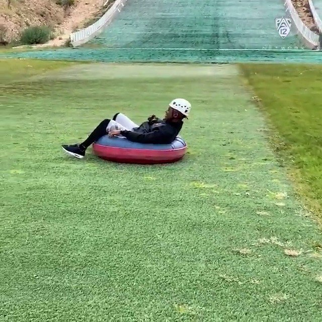 """""""I'M GOING THE WRONG WAY!"""" - @CoachNBurton (while extreme tubing @utaholympicpark). Tune in tomorrow at 3:00 PT/ 4:00 MT to catch The Pregame live from Utah."""