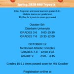 Image for the Tweet beginning: Tryout schedule for grades 3-9