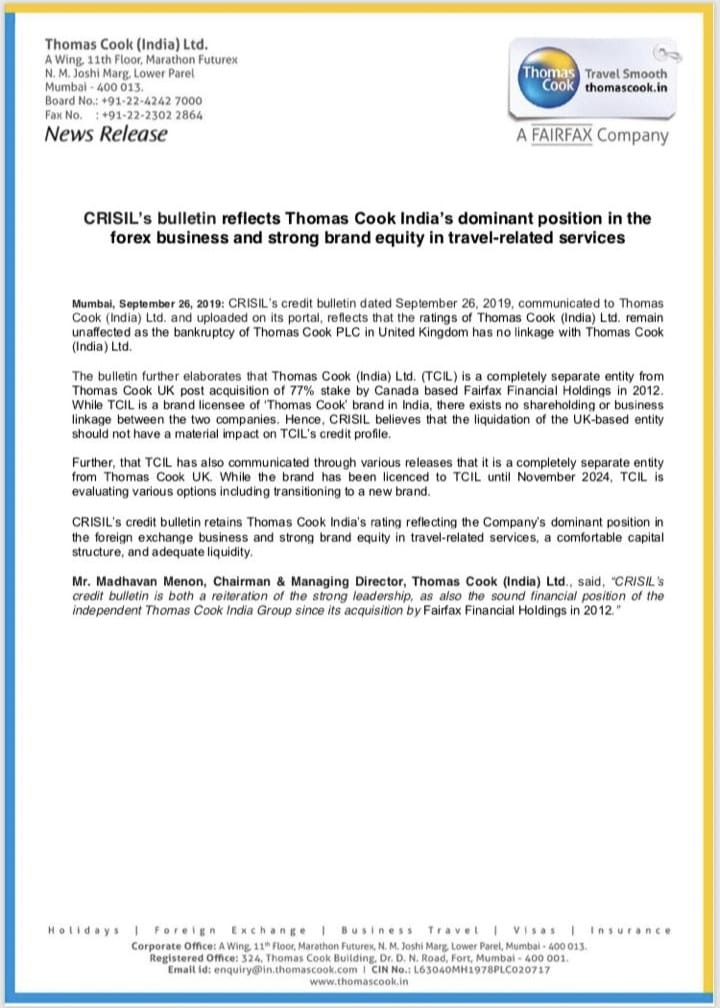 Crisil keeps credit rating of Thomas Cook India unchanged. ThomasCookIndia TC Crisil https t.co Z2Ro6He4va