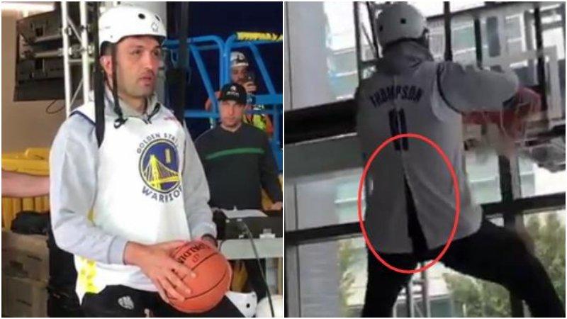 【影片】太搞笑了!Zaza戴頭盔秀另類暴扣,湯神11號球衣都被他撐爆了!