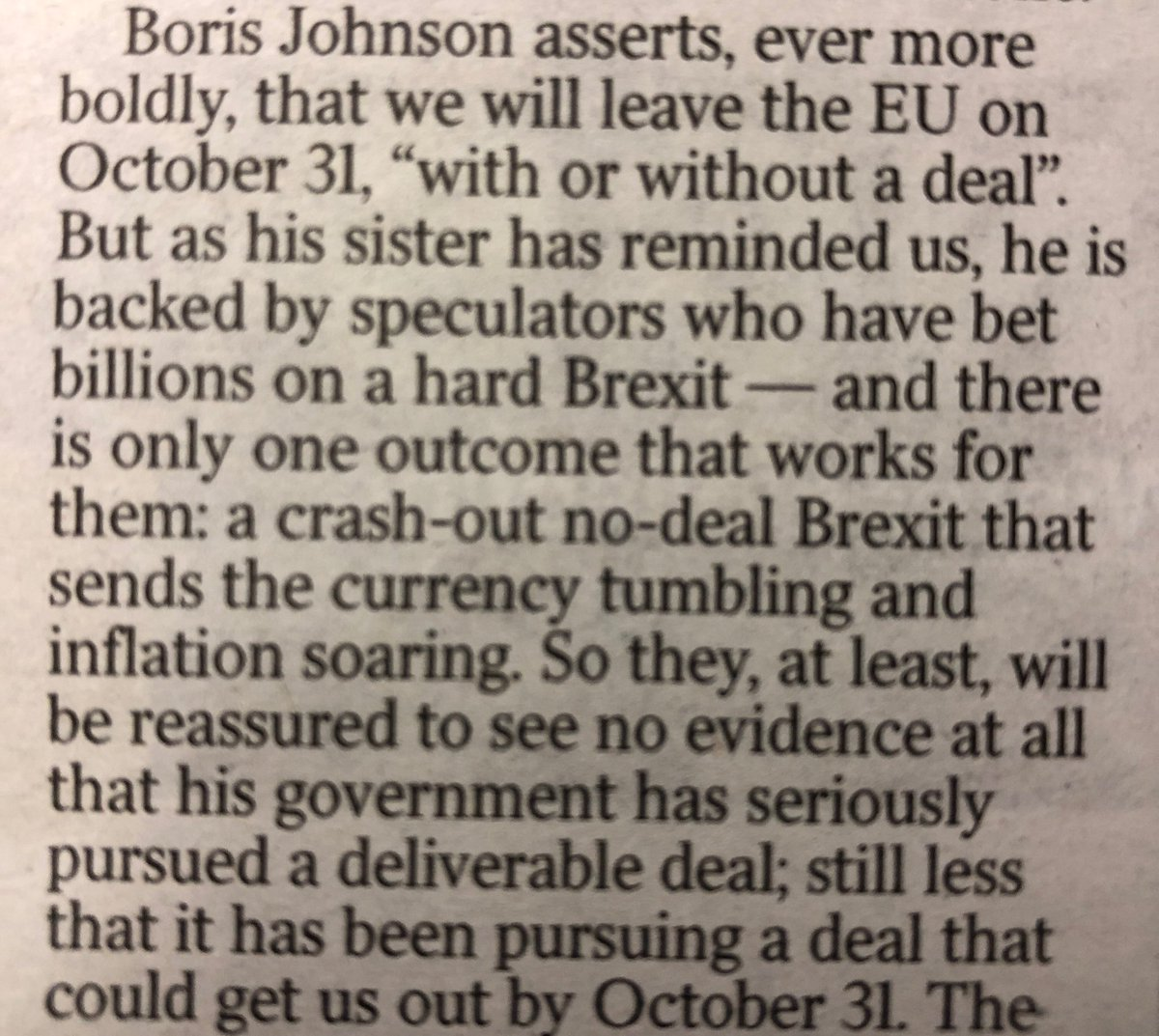 Philip Hammond, ex-Chancellor, seriously suggests in today's Times that one reason the Prime Minister may want a hard Brexit is so that his backers in the City don't lose billions — corruption on a scale I wouldn't dare put in fiction