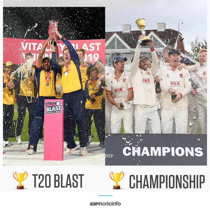 Div1 🏆🏆✅ | div2 🏆✅ | T20 blast 🏆✅ | 50 over 🏆✅ | 40 over 🏆🏆✅ | DOUBLE ✅ | We've got them all. What a team. I have to say it's been the best week of my cricketing life.