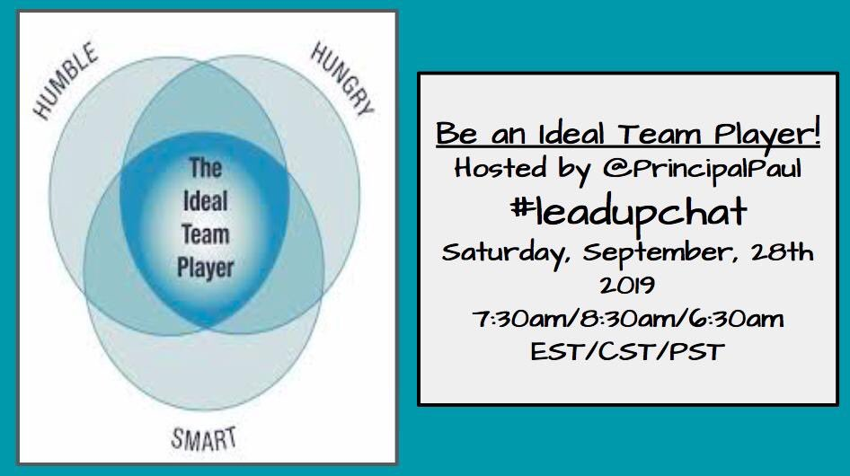 Talking #IdealTeamPlayer here in 90 minutes!!! Join us!!! #leadupchat #edchat