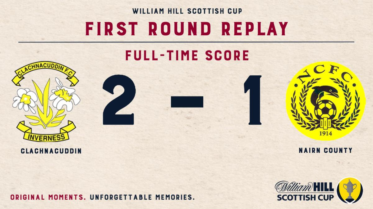FULL TIME | @clachfc 2-1 @NairnCounty. Clachnacuddin emerge victorious, and will now take on @brorarangers in the Second Round of the @WilliamHill Scottish Cup. #ScottishCup