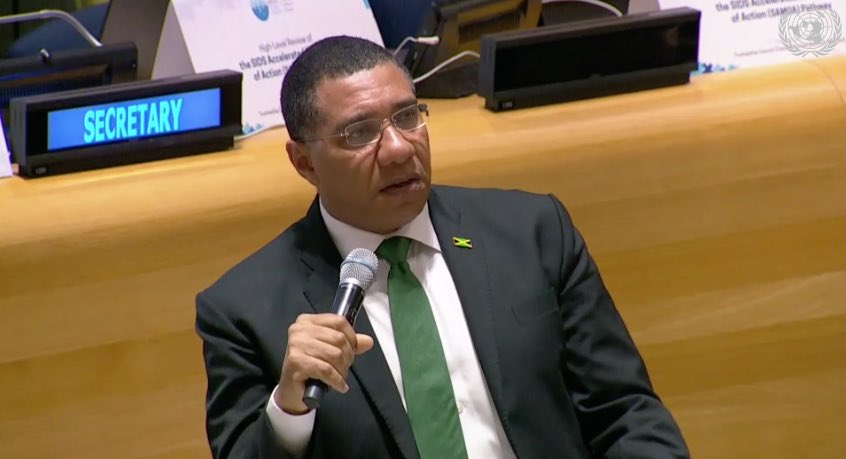 In the Caribbean we dont have the luxury of debating #ClimateChange. Every year 1 - 2 islands will be devastated. We need to look at how concessional finance is determined, a vulnerability index should be the way forwardJamaicas PM @AndrewHolnessJM #UNGA #SamoaPathway #UNDP