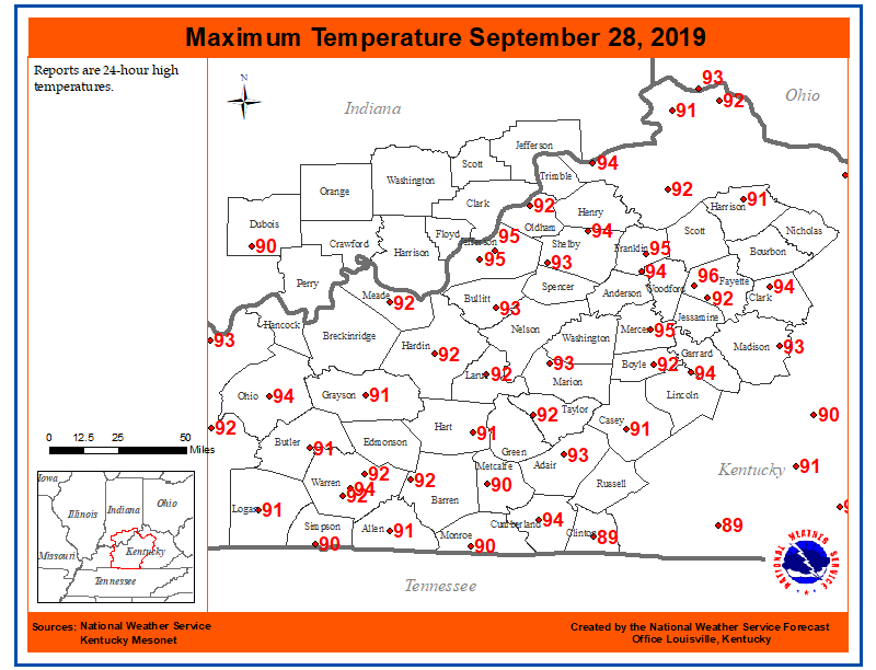 Looks like summer really isnt going down without a fight 😓 Record high temperatures were observed today in Louisville, Lexington, and Frankfort ☀️🌡️ #KYwx #INwx
