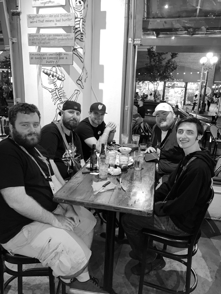 How the night begins. Dinner with @Lazarus crew @ConorDaly22 @ItsZzxq @RightyOnTwitch @Dethbyzehbra then off to #TwitchCon2019 party at @Padres @PetcoPark @twitch let's go!!! @madeon & @blink182 🔥🔥🔥