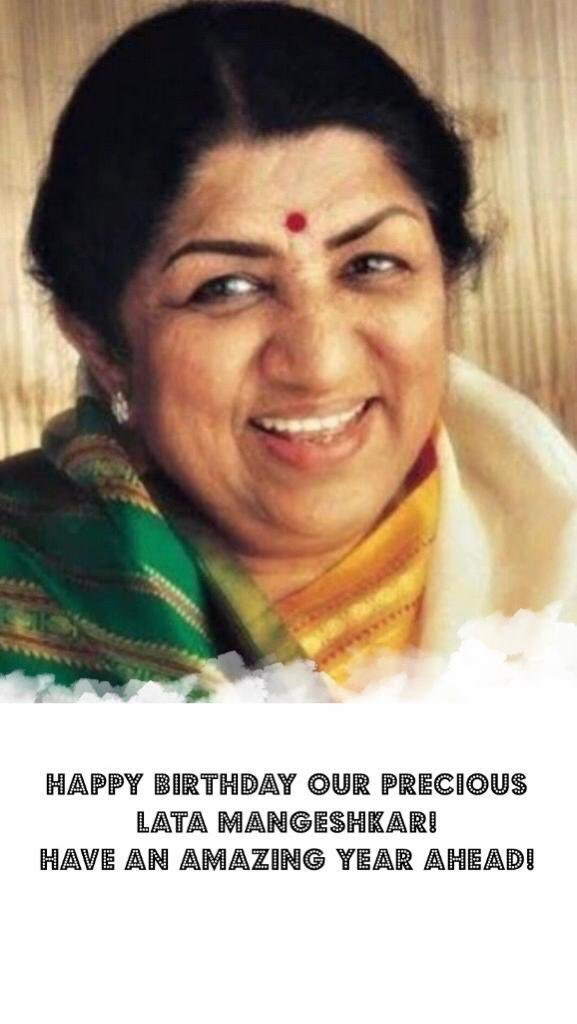 Our Dearest Lataji, Happy Birthday to our nightingale! We pray for your long life and good health always ! A life time honour ,that you sung my first movies songs for me , will treasure that all my life ♥️♥️🙏🏻🙏🏻 @mangeshkarlata