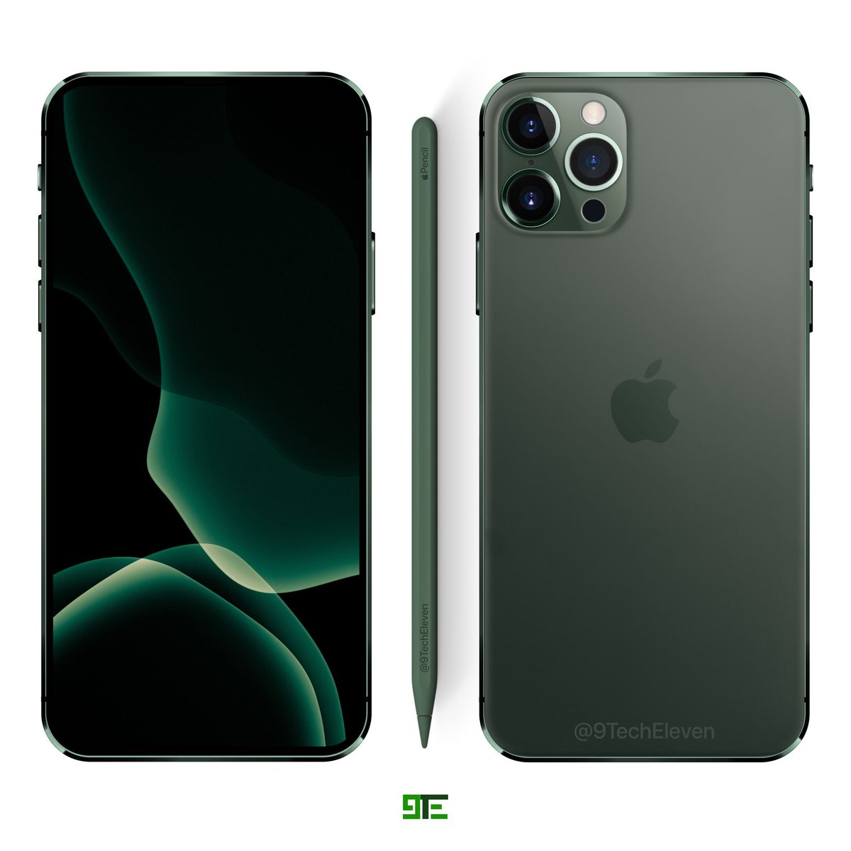 9techeleven On Twitter Revised 6 7 2020 Iphone Pro Concept In Midnight Green Finish And An Iphone 11 Pro Style Camera A Tof Sensor Has Also Been Added Let S See How Many Of