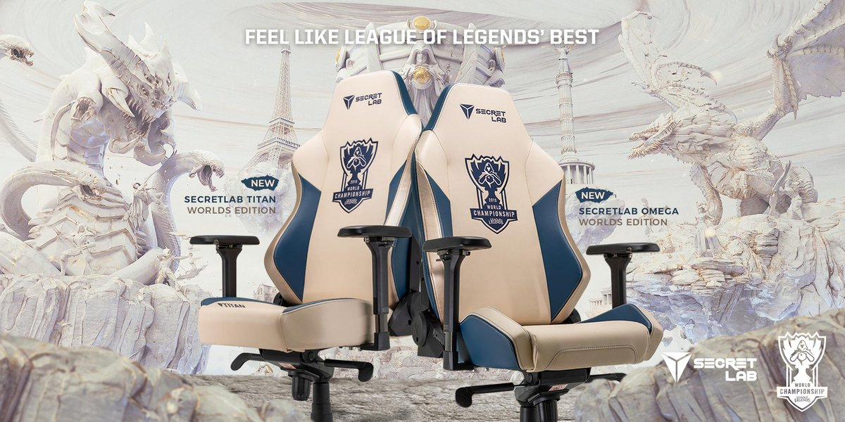 Made for the Worlds' best—the Secretlab Worlds Edition chairs.Sit like the Worlds' best on @lolesports grandest stage with award-winning comfort that features the 2020 Series upgrades. #Worlds2019http://secretlab.co/lolesports