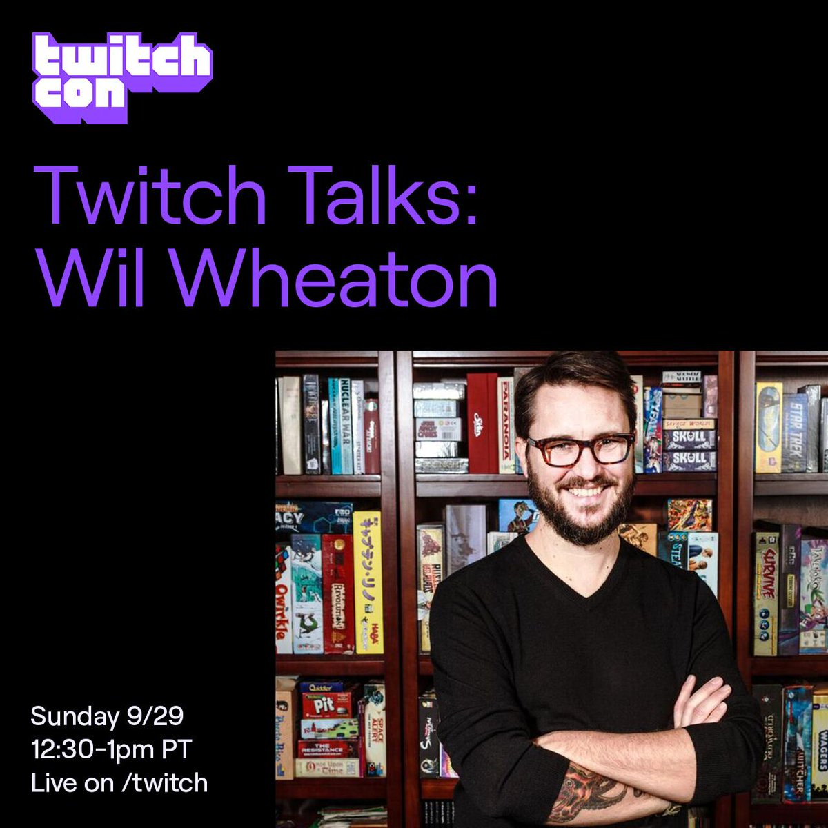Life isnt an act, but it doesnt hurt to have an actor like Wil Wheaton to guide you through it. Watch and co-stream his Twitch Talk live from TwitchCon San Diego at 12.30pm PT: twitch.app.link/vovnYa518Z