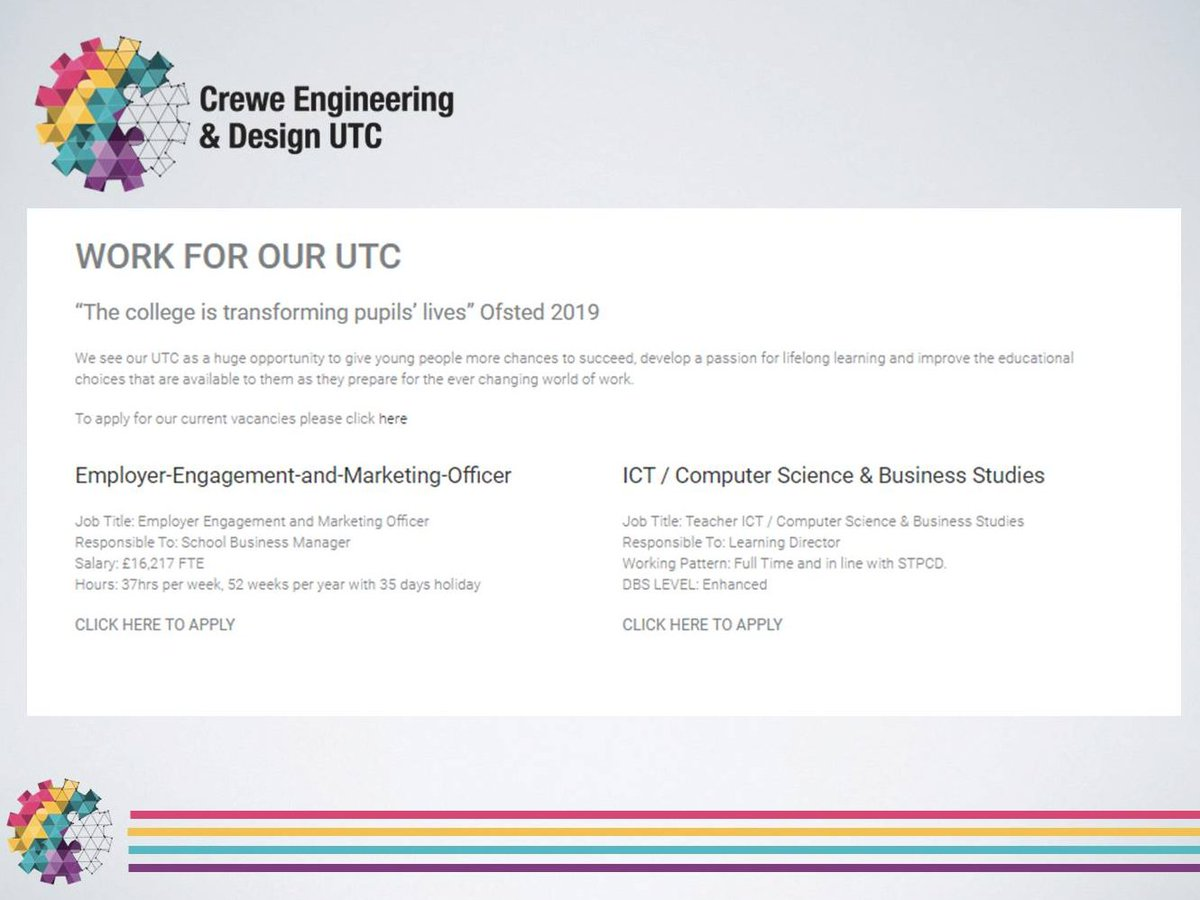 Crewe E D Utc A Twitter How Would You Like To Be A Part Of The Engineering Education In South Cheshire Crewe Utc Is Hiring Now Come And Join Us And A Be