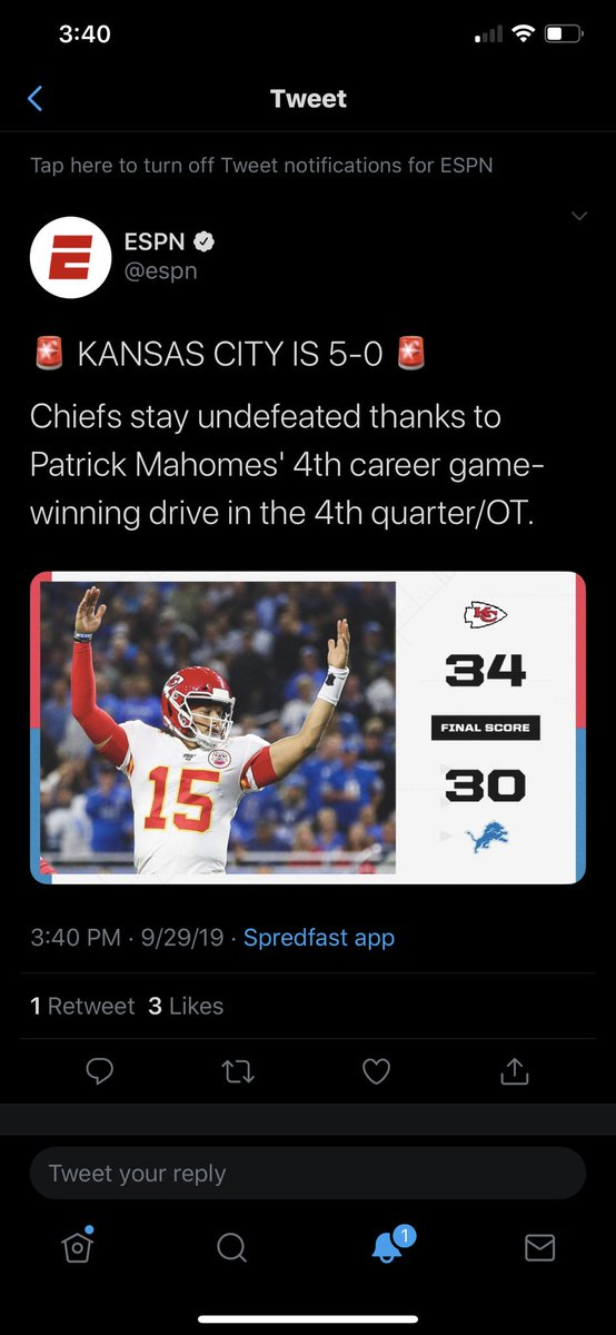 Espn On Twitter Kansas City Is 4 0 Chiefs Stay