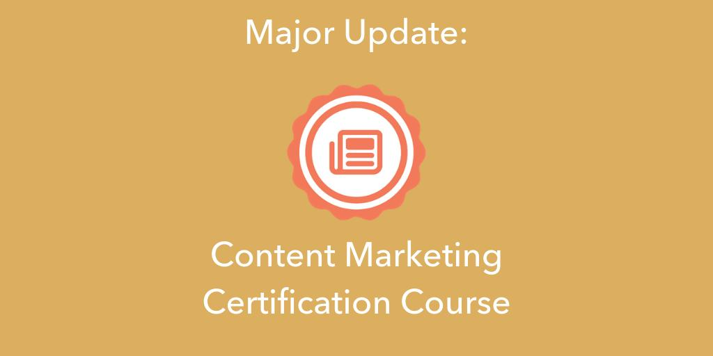 Now Live: We have updated our popular Content Marketing Certification Course with new lessons and examples from industry experts @larrykim, @sujanpatel, and @crestodina and partners @Moz, @Venngage, @wipsters, and @contently: hubs.ly/H0kR5zD0