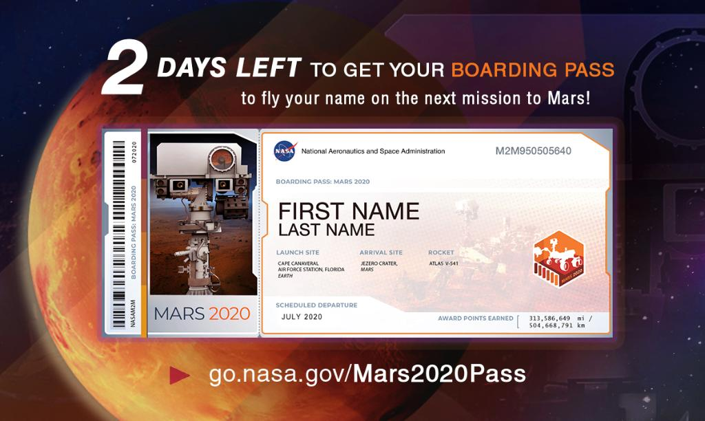 Come along and ride on a fantastic voyage! 🚀 Our #Mars2020 Rover is gearing up for its seven-month journey to the Red Planet and you can send your name along for the ride. Get your boarding pass before 11:59pm ET on Sept. 30: go.nasa.gov/Mars2020pass
